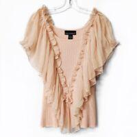 Isabella Rodriguez Pink Beige Chiffon Flutter Sleeve Blouse Top Womens Sz Large