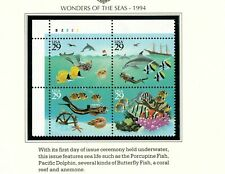 United States stamps #2866a, Plate Block, MNH, XF, 1994, Marine Life