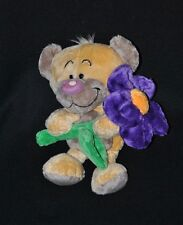 Peluche doudou ours Pimboli DIDDL DEPESCHE beige fleur violet vert 25 cm TTBE