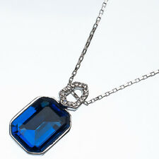 10.86 Ct Octágono Corte Estilo Forma Azul Zafiro Cz 18k Oro Blanco Colgante