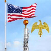 30' Telescopic Aluminum Flag Pole Kit Eagle Top +Gold Ball Finial +Flag