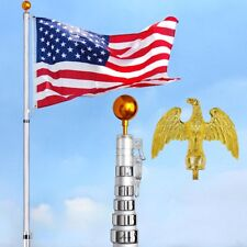 YesHom™ 30' Telescopic Aluminum Flag Pole Kit Eagle Top +Gold Ball Finial +Flag