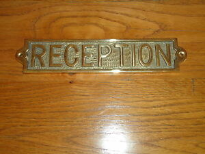 Brass Reception Plaque Sign Hand Casted Door Fitting /Bar/Pub