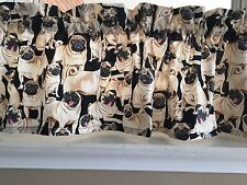 """NEW Pugs Dogs Puppy Breeds Valance Curtain 42""""W x 13""""L"""