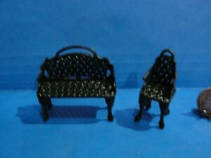 Dollhouse nice green metal couch and chair set 1:24 1/2  scale