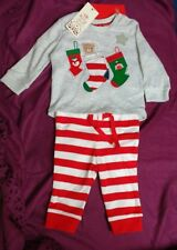 BABY GIRLS BOYS CHRISTMAS TOP & TROUSERS PYJAMAS SET.UP TO 3 MONTHS / 0-3 .NEW