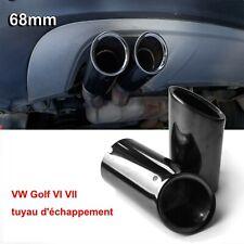2* VW Golf VII Scirocco Embout Tuyau Pot D'échappement Sortie Voiture 68mm Noir