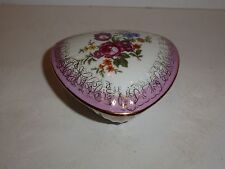 Vintage Best China 3-Sided Trinket Box, Roses, Pink and Gold Tone
