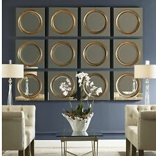 HUGE SET OF TWELVE ANTIQUED OUTER MIRROR CENTER FRAME WALL MIRRORS CONTEMPORARY