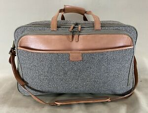 Hartmann Walnut Tweed Leather 747 Garment Bag Exp Carry On Triple Compartment