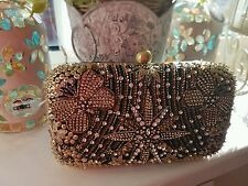 Accessorize impresionante oro Sequinned Butterfly Clutch Bag BNWT