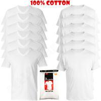3 to 6 Pcs Men 100% Cotton Crew & V-Neck Tag less T-Shirt Undershirt White S-XL