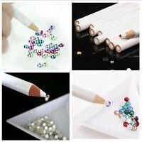 2PCS White Wooden Point Pen Wax Picker Pencil For Nail Art Rhinestones Bead