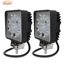 Pair 4INCH 27W Square LED WORK LIGHT BAR Flood OFFROAD DRIVING FOG LAMPS 12V/24V