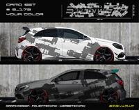 Camo Set Camouflage Seitenstreifen Autoaufkleber - Wunschfarbe - #5_173 -2