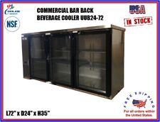 Commercial Back Bar Cooler Beverage Refrigerator Stainless Steel 3 Door Nsf 72