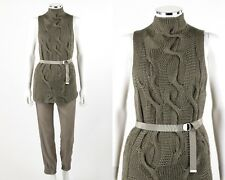 """ESCADA 2Pc Green """"Shelley"""" Belted Sweater Top Taupe Joggers Pant Suit Set S / 34"""