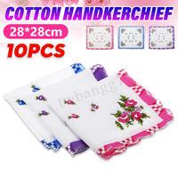 USA 10pcs Vintage Handkerchief Unisex Lady Women Cotton Hanky Handkerchiefs 28CM