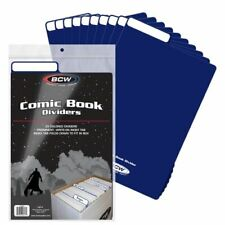 (200) BCW COMIC BOOK DIVIDERS  - WRITE-ON FOLDABLE TABBED - Blue plastic