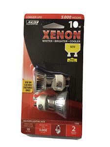 Feit Electric 10w Xenon Halogen Bulbs GU10 Base 120v Reflector NIP (2 Bulbs)
