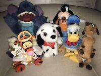 Disney Lot of 6 Plush Stuffed Animals Mixed Sizes Mickey Donald Goofy Stitch