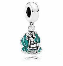 🧜💚 1 pc European charm Disney Little Mermaid - Ariel sitting in shell dangle