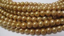 Big Hole Round/Potato Freshwater Pearl Gold Color Size 6-7mm Hole 1.8mm (#03)
