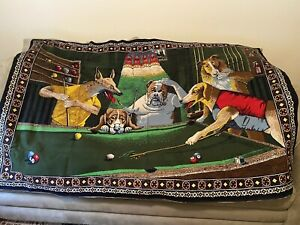 """Vintage 'Dogs Playing Pool' 38 x 56"""" approx Billards Hanging Wall Tapestry"""