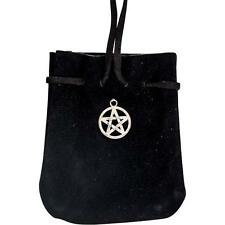 Black Velveteen Pouch with Pentacle Charm!