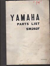 1974 VINTAGE YAMAHA SNOWMOBILE SM292F PARTS MANUAL USED  (254)