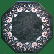 "12"" green marble side inlay work table top marquetry handmade flower design"