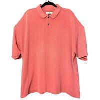 Tommy Bahama Short Sleeve Polo Shirt Silk Cotton Salmon Ribbed Mens Size XXL 2XL