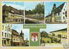 AK Aschersleben / Markt, Platz der Jugend, Rathaus, Tie mit Wehrturm, Stadthalle