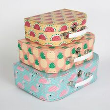 Suitcase Storage Box Boxes Flamingo Pineapple Watermelon Craft Hamper Stationery