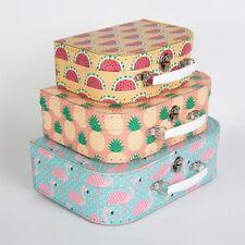 Valise Boîte de rangement Boîtes Flamingo Ananas Pastèque Craft Hamper Papeterie
