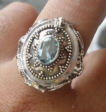 925 Sterling Silver-Kr119-Size 10-Bali Carved Poison Locket Ring Wish Blue Topaz