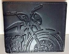 Fossil Vintage Motorcycle Wallet Black Leather RFID Bifold Flip ID Classic Bike