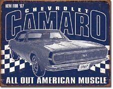 Chevrolet Camaro 67 American Muscle TIN SIGN metal vtg racing garage decor 2135