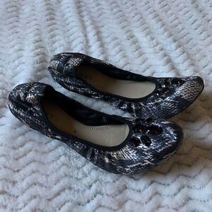 """ELLEN TRACY""""Carla"""" Womens Black/beige Faux Snakeskin Jewells Ballet Flats Sz 10M"""