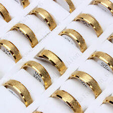 5pcs For Womens Men Stainless Steel Frosted Gold Rings Wholesale Jewelry Lots