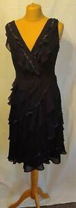 Monsoon Black Dress UK 10 Chiffon Beaded Ruffle Layered Party Gatsby Christmas