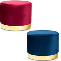 Red Blue Velvet Gold Storage Ottoman Glam Luxury Luxe Fabric Upholstered