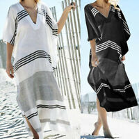 Women Summer Beach Long Shirt Dress Ladies V-neck Loose Printed Kaftan Size 8-26
