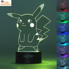 3D Pokemon Pikachu illusion Led Night Light Touch Table Desk Lamp Gift 7 Color