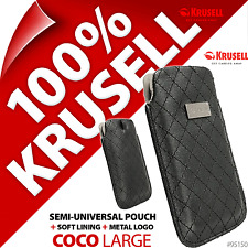 New Krusell Coco L Large Synthetic Leather Mobile Pouch Case Cover Slim Black