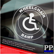 1x Rampa Sedia A Rotelle-Round-Finestra Adesivo-segno, auto, distintivo, disabili, avviso, notare