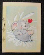 "CUTE ELEPHANT Splashing w/ Heart 5.25x7"" Greeting Card Art #3228 Dumbo-ish"