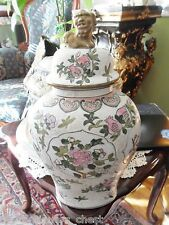 Chinese Vase Foo dog top, multicolor flowers and fruits, stamped on back[4]
