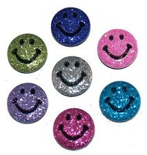 JESSE JAMES ~ DRESS IT UP BUTTONS ~ PSYCHEDELIC SMILES 4834 GLITTER SMILEY
