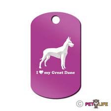 I Love My Great Dane Engraved Keychain GI Tag dog German Mastiff profile
